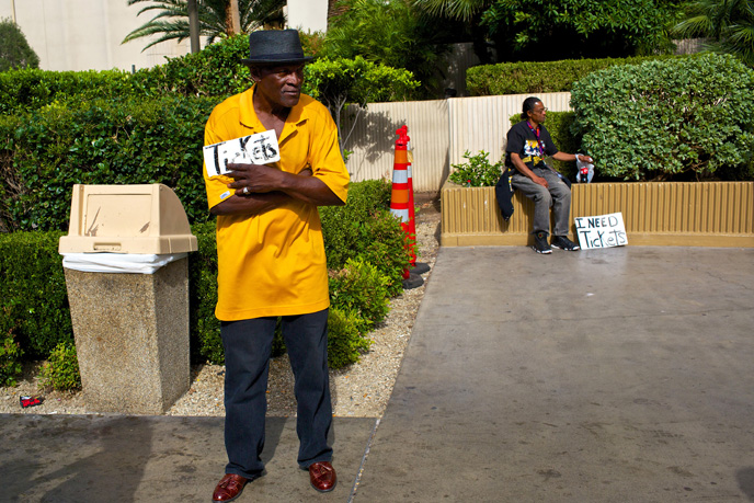 Irony, during the pre-fight excitement on the Las Vegas Strip on Saturday, May 2, 2015.