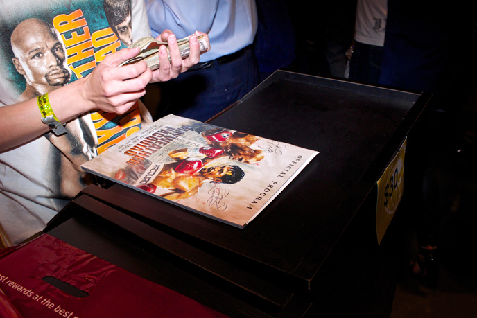 Programs go for $30 at the door to the Mayweather vs. Pacquiao super fight at MGM Grand in Las Veags on Saturday, May 2, 2015.